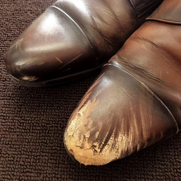 紳士靴リペイント(補修前)